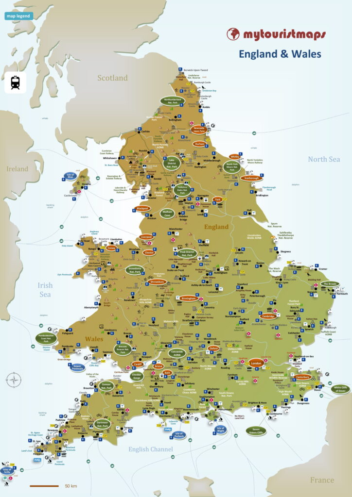 Tourist map of England & Wales