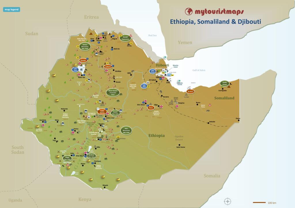 Tourist map of Ethiopia Somaliland & Djibouti