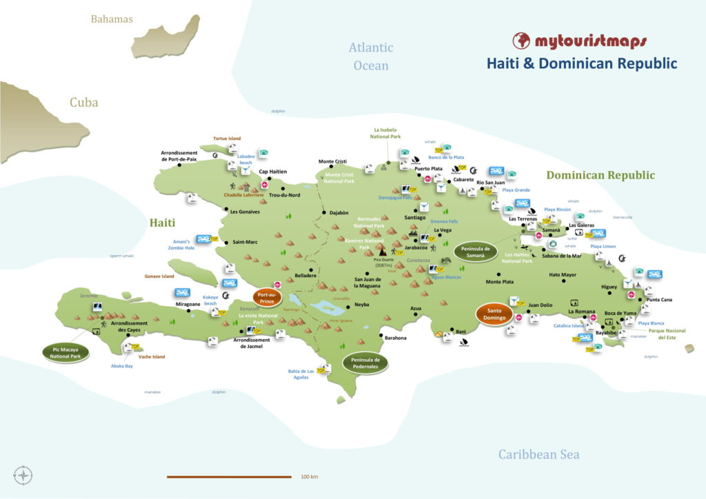 Tourist map of Haiti & Dominican Republic