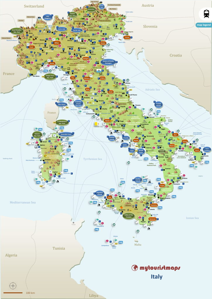 Tourist map of Italy