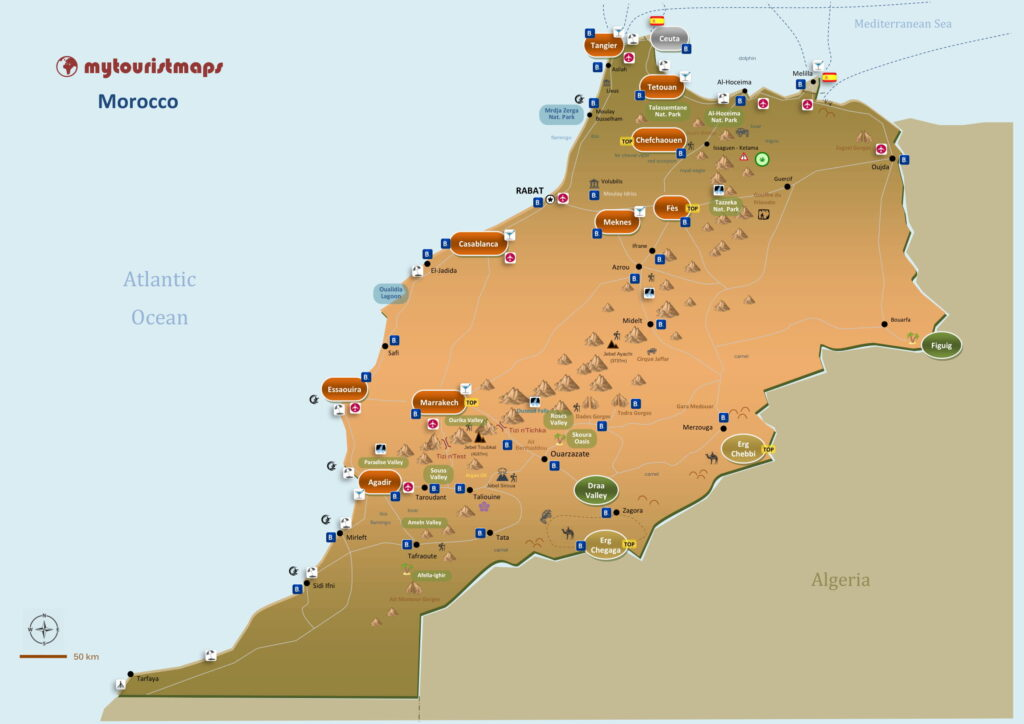Tourist map of Morocco
