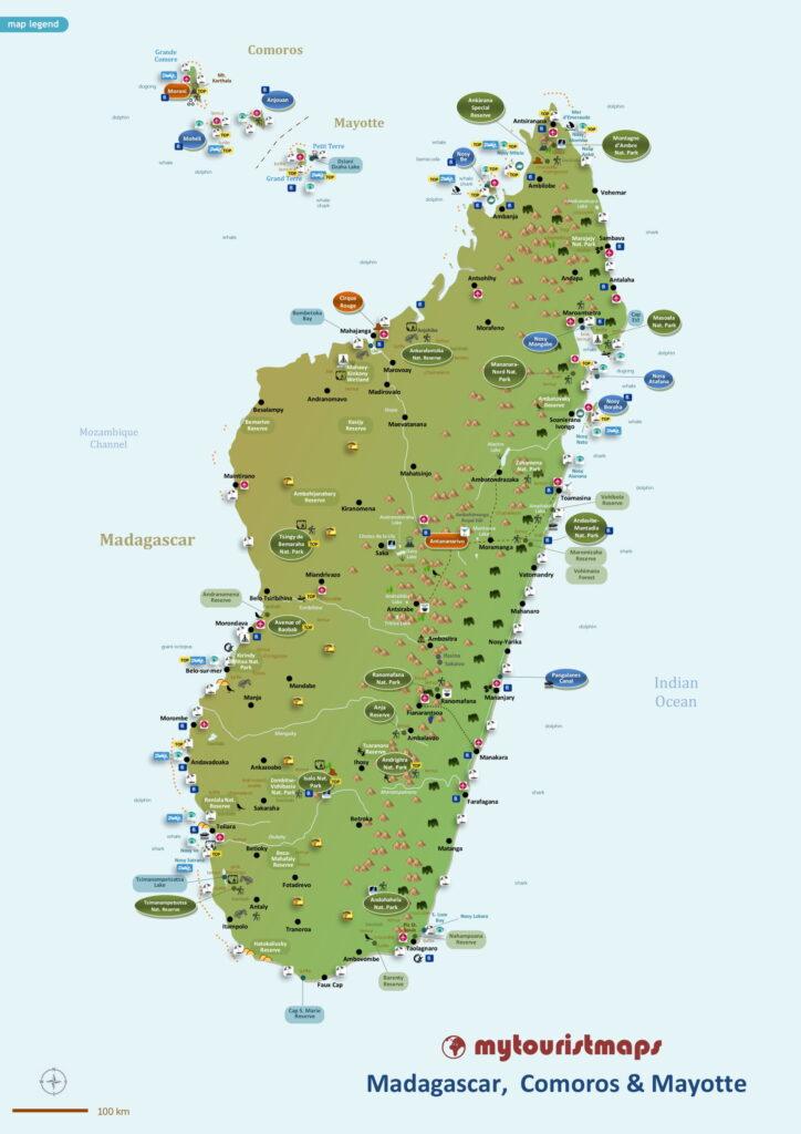 Tourist map of Madagascar Comoros & Mayotte