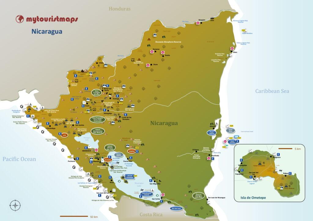 Tourist map of Nicaragua