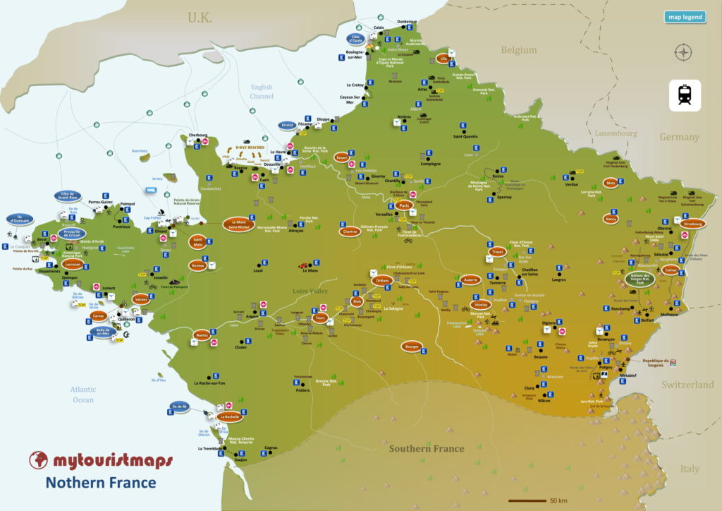 Tourist map of Northern France