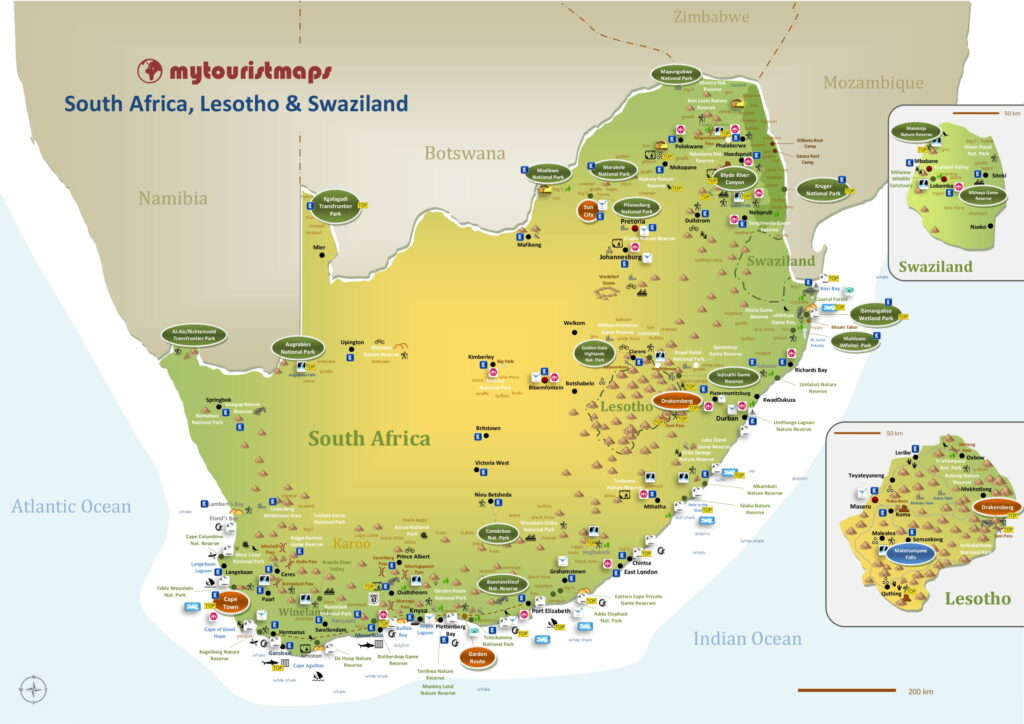 Tourist map of South Africa Lesotho & Swaziland
