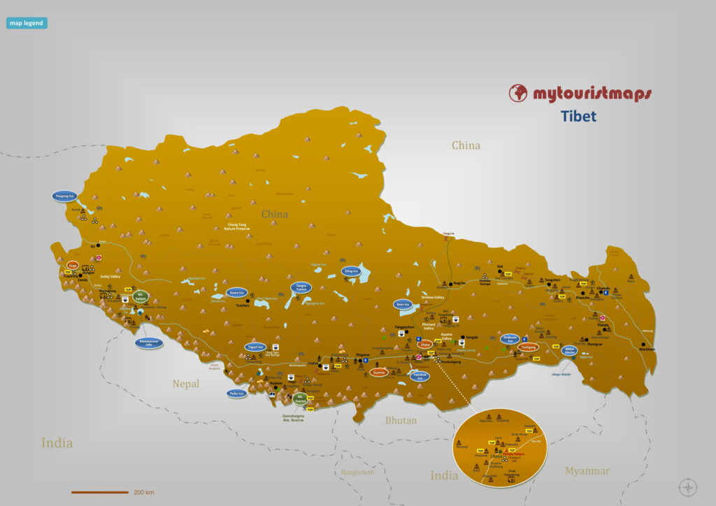 Tourist map of Tibet